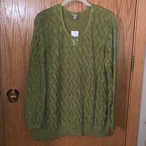 J Jill Green Sweater Size Large